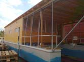 hausboot 17,5 x 4m laden im werft aufbaukonstruktion