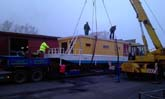 hausboot 17,5 x 4m laden transport und kranarbeiten